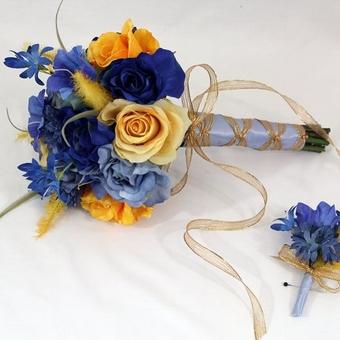 Синий свадебный букет невесты (Obradoval.ru) - фото 12