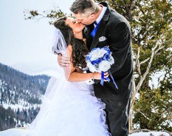 Синий свадебный букет невесты (Obradoval.ru) - фото 9
