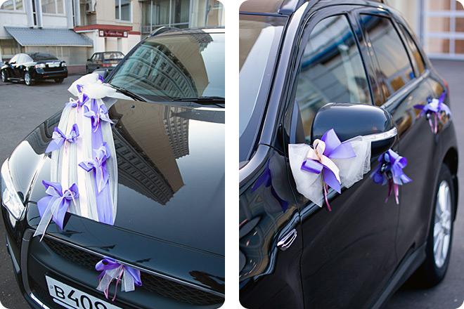 Оформление автомобилей жениха и невесты лентами, бантами и органзой